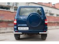 Защита заднего бампера уголки D63 (секции) D42 (секции) на УАЗ Патриот с 2014г.